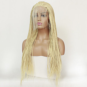 cheap Synthetic Trendy Wigs-Synthetic Lace Front Wig Matte Braid Lace Front Wig Blonde Long Light Blonde Synthetic Hair Women's Heat Resistant Blonde