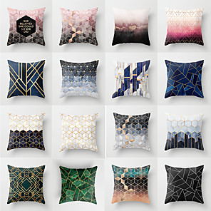 cheap Pillow Covers-1 pcs Polyester Pillow Cover, Geometic Fashion Square Traditional Classic