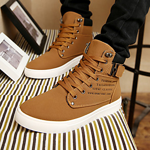 cheap Men's Sneakers-Men's Comfort Shoes Synthetics Spring & Summer / Fall & Winter Casual / British Sneakers Black / Brown / Black / White / Outdoor
