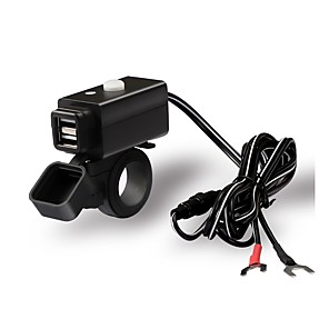 cheap Car Charger-Double USB Adapter Waterproof Motorcycle Charger with Switch Button