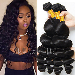 cheap Human Hair Weaves-4 Bundles Brazilian Hair Loose Wave Remy Human Hair 200 g Natural Color Hair Weaves / Hair Bulk Extension Bundle Hair 8-28 inch Natural Color Human Hair Weaves Soft New Arrival Fashion Human Hair