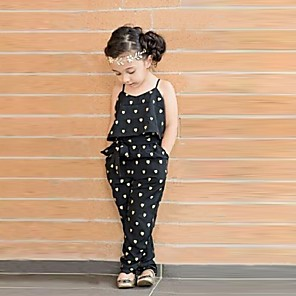 cheap Cell Phone Charms-Toddler Girls' Cute Daily Heart Print Sleeveless Overall & Jumpsuit Black
