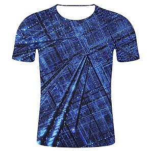 cheap Wall Stickers-Men's Plus Size T-shirt Geometric 3D Graphic Print Tops Statement Art Deco / Retro Round Neck Blue