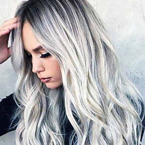 cheap Synthetic Trendy Wigs-Synthetic Wig Wavy Asymmetrical Wig Medium Length Grey Synthetic Hair 26 inch Women's Party Dark Gray