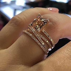cheap Rings-Women's Ring Cubic Zirconia 3pcs Rose Gold Alloy Circular Elegant Trendy Wedding Jewelry Classic Cute