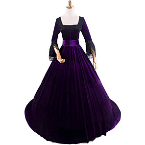 cheap Historical & Vintage Costumes-Princess Rococo Victorian Dress Party Costume Costume Women's Cotton Costume Purple Vintage Cosplay Masquerade Party & Evening Long Sleeve Floor Length Long Length Plus Size