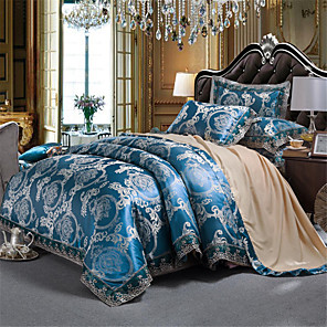 cheap Duvet Cover Sets-Duvet Cover Sets Bule/ Silver Printed Pattern/ Ultra Soft Luxury Jacquard 4 Piece Bedding Sets/ Full,Queen Size