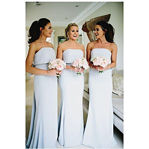 cheap Bridesmaid Dresses-Mermaid / Trumpet Strapless Floor Length Jersey Bridesmaid Dress with Bow(s)