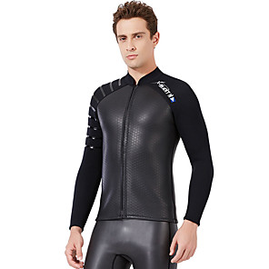 cheap Wetsuits, Diving Suits & Rash Guard Shirts-Dive&Sail Men's Wetsuit Top Wetsuit Jacket 3mm SCR Neoprene Jacket Thermal / Warm Long Sleeve Front Zip - Swimming Diving Water Sports Solid Colored Autumn / Fall Spring Summer / Stretchy