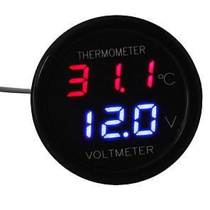 cheap Car Charger-Car LED Digital Red&Blue Display 2 In 1 Dual Voltmeter Thermometer 12V