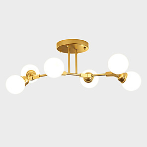 cheap Dimmable Ceiling Lights-ZHISHU 6-Light 80 cm WIFI Control Chandelier Metal Glass Sputnik Industrial Painted Finishes Contemporary Chic & Modern 110-120V 220-240V E26 E27
