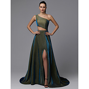 cheap Cocktail Dresses-A-Line Sparkle Green Prom Formal Evening Dress One Shoulder Sleeveless Court Train Sequined with Split Front 2020