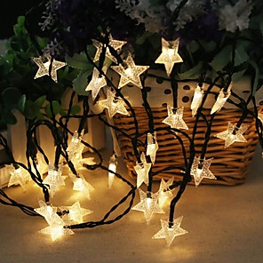 cheap LED String Lights-1 set LED Lantern Solar Light String Outdoor String Lights 5 Meters 20 Lights Stars Stars Small Stars Five Stars Outdoor Waterproof Lights