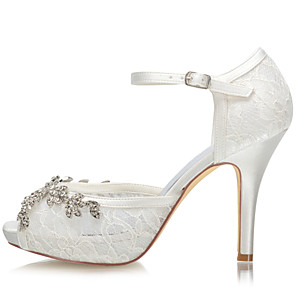 cheap Wedding Shoes-Women's Wedding Shoes Spring &  Fall / Summer Stiletto Heel Open Toe Wedding Party & Evening Lace / Satin Ivory