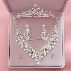cheap Earrings-Women's Clear Ivory Bridal Jewelry Sets Crown Classic Fashion Imitation Pearl Rhinestone Earrings Jewelry White For Wedding Party Engagement 1 set