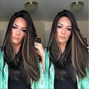 cheap Synthetic Trendy Wigs-Synthetic Wig kinky Straight Middle Part Wig Long Black / Gold Synthetic Hair 22 inch Women's Women Dark Brown