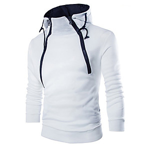 cheap Fitness Gear & Accessories-Men's Sweatshirt Solid Colored Round Neck Casual Hoodies Sweatshirts  Slim White Black Navy Blue