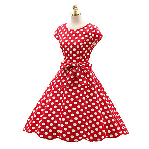 cheap Historical & Vintage Costumes-Audrey Hepburn Country Girl Polka Dots Retro Vintage 1950s Wasp-Waisted Rockabilly Summer Dress Masquerade Women's Cotton Costume Black / White / Ink Blue Vintage Cosplay Party Daily Festival