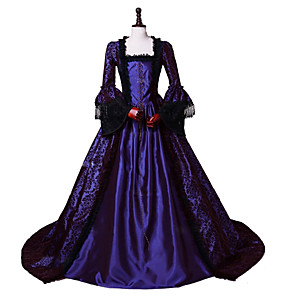 cheap Historical & Vintage Costumes-Princess Maria Antonietta Rococo Victorian Dress Party Costume Costume Women's Cotton Costume Purple Vintage Cosplay Masquerade Party & Evening Long Sleeve Floor Length Long Length Plus Size