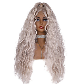 cheap Synthetic Trendy Wigs-Synthetic Lace Front Wig Loose Wave with Baby Hair With Ponytail Glueless Lace Front Wig Very Long Grey Synthetic Hair 24-28 inch Women's Party Women Sexy Lady Silver Dark Gray EEWigs