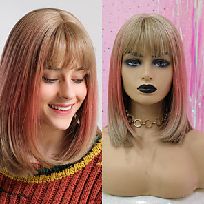 cheap Synthetic Lace Wigs-Synthetic Wig kinky Straight Natural Straight Bob Neat Bang Wig Blonde Medium Length Gold Pink Synthetic Hair 14 inch Women's Fashionable Design Synthetic Lovely Blonde BLONDE UNICORN / Ombre Hair