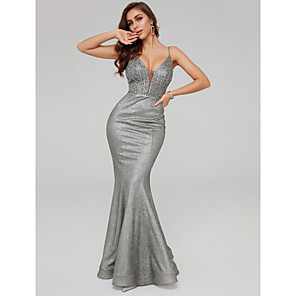 cheap Evening Dresses-Mermaid / Trumpet Sparkle Grey Prom Formal Evening Dress Spaghetti Strap Sleeveless Floor Length Sequined with Beading Sequin 2020
