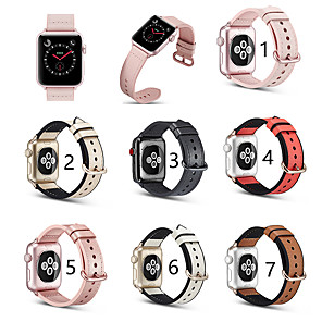 cheap Smartwatch Bands-Genuine Leather Smartwatch Band for Apple Watch Series Plus Transparent Protective Case 40 / 44 mm Suit iwatch Strap