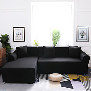cheap Sofa Cover-Stretch Sofa Cover Classic 1Piece Solid Black Cheap Couch Cover Polyester Spandex Jacquard Fabric Slipcovers Furniture Protector Soft