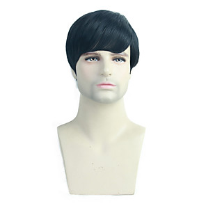 cheap Costume Wigs-Human Hair Blend Wig Short Straight Natural Straight Pixie Cut Black Best Quality New Hot Sale Capless All Unisex Jet Black #1 / African American Wig