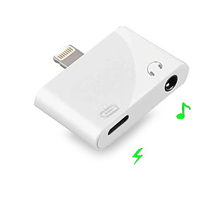 cheap Headphones Accessories-2 in 1 Lightning to 3.5 MM Jack Earphone Aux IOS 9/10/11/12 for Iphone XS Max X 8 7 Plus Dual Headphone Audio Charge Adapter