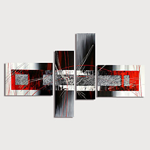 cheap Famous Paintings-Oil Painting Hand Painted - Abstract Modern Stretched Canvas / Four Panels