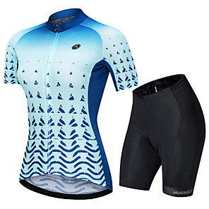 cheap Cycling Jersey & Shorts / Pants Sets-Nuckily Women's Short Sleeve Cycling Jersey with Shorts Blue Gradient Bike Clothing Suit Breathable Sports Polyester Spandex Geometric Mountain Bike MTB Road Bike Cycling Clothing Apparel