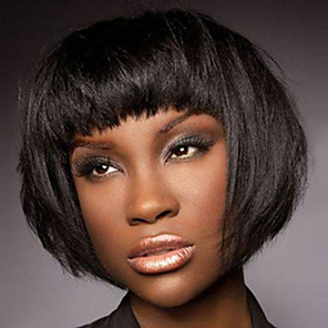 cheap Synthetic Trendy Wigs-Synthetic Wig Bangs Afro kinky Straight Free Part Wig Short Black / Gold Synthetic Hair 12 inch Women's Fashionable Design Women Synthetic Black / For Black Women