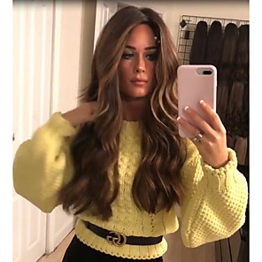 cheap Synthetic Trendy Wigs-Synthetic Wig kinky Straight Middle Part Wig Long Blonde Synthetic Hair 22 inch Women's Women Dark Brown