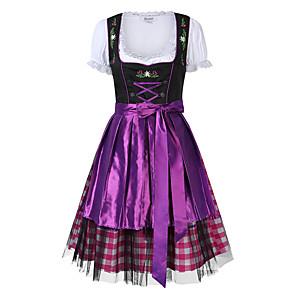 cheap Halloween & Carnival Costumes-Oktoberfest Beer Dirndl Trachtenkleider Women's Dress Bavarian Costume Purple Red