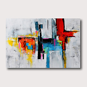 cheap Abstract Paintings-Oil Painting Hand Painted - Abstract Abstract Landscape Comtemporary Modern Stretched Canvas
