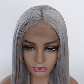 cheap Synthetic Lace Wigs-Synthetic Lace Front Wig Straight Layered Haircut Lace Front Wig Long Grey Synthetic Hair Women's Heat Resistant Gray
