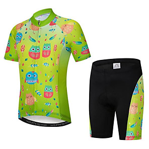 cheap Cycling Jersey & Shorts / Pants Sets-Boys' Girls' Short Sleeve Cycling Jersey with Shorts - Kid's Violet Black / Green Black / Blue Cartoon Floral Botanical Bike Clothing Suit Breathable Moisture Wicking Quick Dry Sports Cartoon