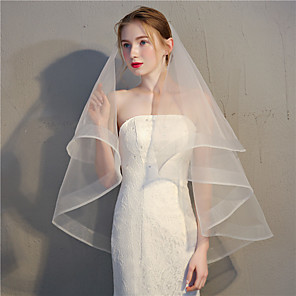 cheap Wedding Veils-Two-tier Vintage / Classic & Timeless Wedding Veil Fingertip Veils with Solid 35.43 in (90cm) Tulle / Oval