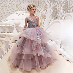 cheap Movie & TV Theme Costumes-Princess Maxi Party / Birthday / Pageant Flower Girl Dresses - Lace / Organza / Tulle Sleeveless Jewel Neck with Lace / Appliques