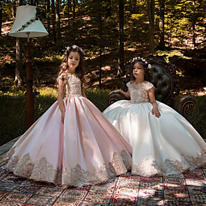cheap Movie & TV Theme Costumes-Ball Gown Sweep / Brush Train Wedding / Birthday / Pageant Flower Girl Dresses - Lace / Satin Chiffon Cap Sleeve Jewel Neck with Acrylic / Appliques