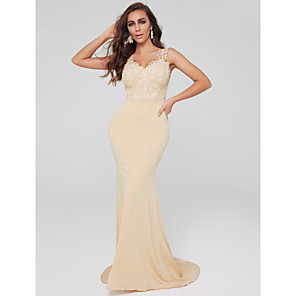 cheap Bridesmaid Dresses-Mermaid / Trumpet Elegant & Luxurious Formal Evening Dress V Wire Sleeveless Sweep / Brush Train Lace Tulle Jersey with Lace Insert Pattern / Print 2020
