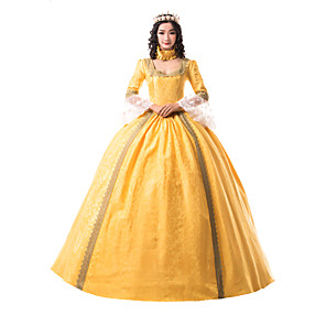 cheap Historical & Vintage Costumes-Princess Maria Antonietta Floral Style Rococo Victorian Renaissance Dress Party Costume Masquerade Women's Lace Costume Yellow Vintage Cosplay Christmas Halloween Party / Evening 3/4 Length Sleeve