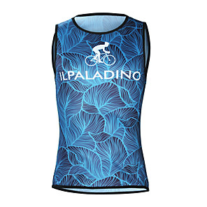 cheap Cycling Jerseys-ILPALADINO Men's Sleeveless Cycling Jersey Elastane Blue Floral Botanical Bike Jersey Top Road Bike Cycling UV Resistant Quick Dry Moisture Wicking Sports Clothing Apparel