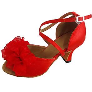 cheap Latin Shoes-Women's Dance Shoes Satin Latin Shoes Flower Heel Cuban Heel Customizable Red