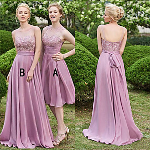 cheap Bridesmaid Dresses-A-Line Illusion Neck Sweep / Brush Train Chiffon / Lace Bridesmaid Dress with Lace