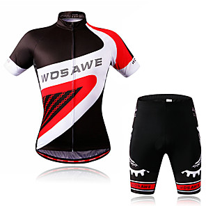 cheap Cycling Jersey & Shorts / Pants Sets-WOSAWE Men's Short Sleeve Cycling Jersey with Shorts Black / Red Bike Jersey Padded Shorts / Chamois Clothing Suit Moisture Wicking Reflective Strips Sports Classic Mountain Bike MTB Road Bike Cycling