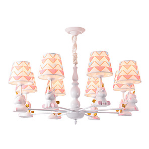 cheap Chandeliers-8-Light 8 Lights Chandelier/ Lovely Pendant Lights White Painted Finishes Fabric Shade for Living Room Kids Room Nursery Bedroom 110-120V / 220-240/E26 E27 without Bulb