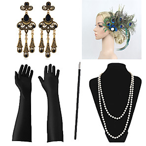 cheap Costumes Jewelry-Necklace Earrings Costume Accessory Sets Outfits Masquerade Retro Vintage 1920s The Great Gatsby Artificial feather For The Great Gatsby Cosplay Halloween Carnival Women's Costume Jewelry Fashion