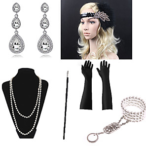 cheap Dolls Accessories-Necklace Earrings Bracelet Costume Accessory Sets Gloves Necklace Retro Vintage 1920s The Great Gatsby Artificial feather For The Great Gatsby Cosplay Halloween Carnival Women's Costume Jewelry